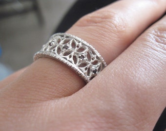 Filigree silver ring, Vintage silver ring, Sterling silver wide ornament ring, Antique silver ring, Promise ring, Christmas Gift for her