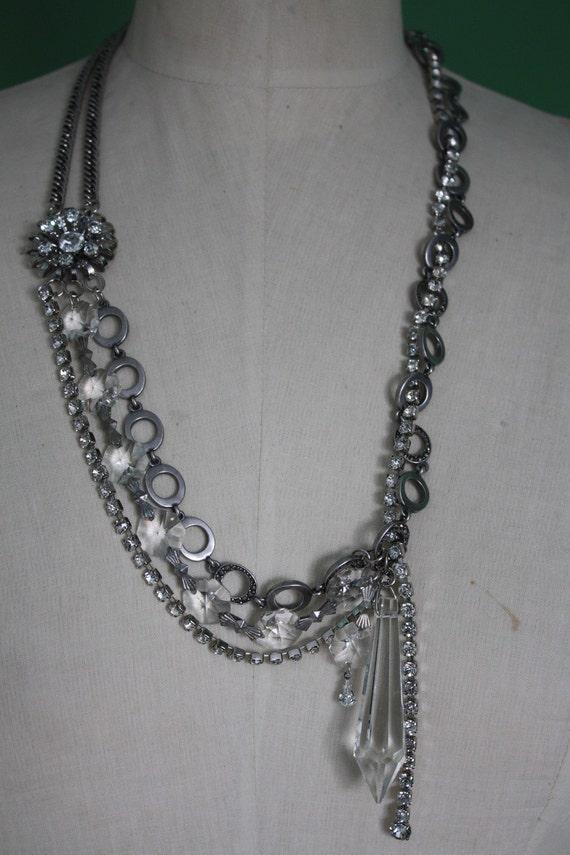 Vintage Crystal Chandier Prism Rhinestones Marcasite Statement Necklace Handcrafted Ooak