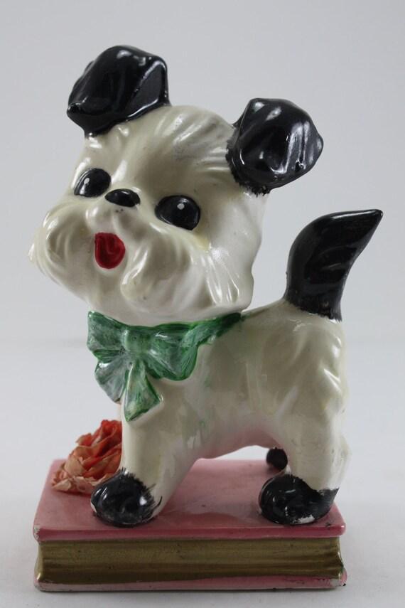 Vintage Dog Figurine Black And White On Book