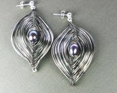 Peacock's Pleasure Silver Gunmetal and Pearl Earrings Small or Large Free US Shipping