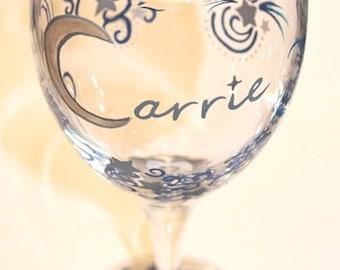 Celestial Wine Glass, Moon, Stars, Night Sky, Equinox, Stellar, Personalized, Custom