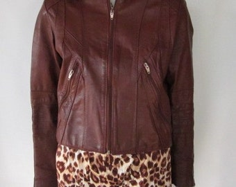 Rockin Motorcycle Brown Crop Leather Jacket Weathered / Worn