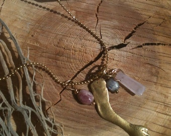 magical, mystical labradorite, pink tourmaline, rose quartz and brass milagro arm necklace 18 inch long ball chain