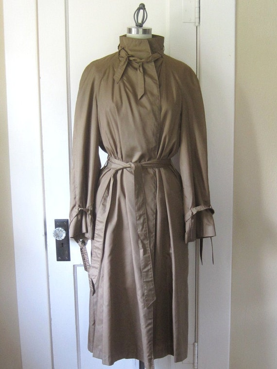 Vintage Trench Coat 1970's by Count Romi Brown Copper Large with Ties