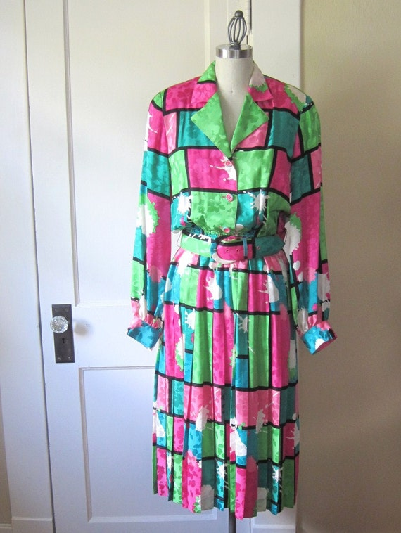 Vintage Dress 1980's Bright Color Block Silk Damask Pink Green and Turquoise by Anne Crimmins for Umi