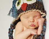 Baby Hats - Blue and Brown Owl Hat - Baby Owl Hat -  Baby Hats - Baby Hat Photo Prop - Owl Costume Hat - by JoJosBootique