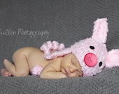 Baby Piggy Hat - Baby Hat- Pig Hat - Baby Hat - Infant Costume Hat - Little Piggy Costume Hat - Newborn Pig Hat -by JoJosBootique