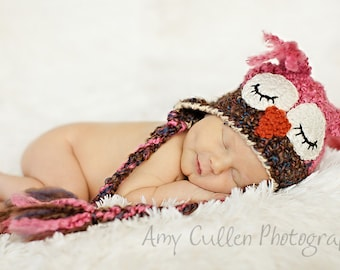 Baby Hats - Baby Owl Hat - Sleepy Owl Hat -Baby Owl Hat for Baby- Newborn to adult sizing - Girl Owl Hat -by JoJosBootique