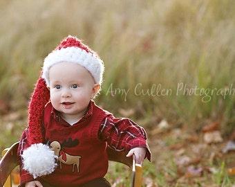 Santa Hat - Baby Santa Hat - Children's Santa Hat - Soft Christmas Photo Hat - by JoJosBootique