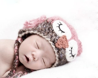 Baby Hats -  Sleepy Owl Hat -Baby Owl Hat for Baby- Newborn Hat - Soft and Cute Girl Owl Hat -by JoJosBootique