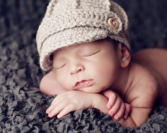 Oatmeal Baby Newsboy Hat - Coming Home Outfit - Textured Newsboy Baby Hat - Newborn Baby Photo Prop - by JoJosBootique