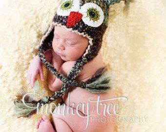 Owl Hat - Photo Prop - Baby Owl Hat - Baby Hat - Halloween Costume Hat -3 - 6 Months Hats -by JoJo's Bootique