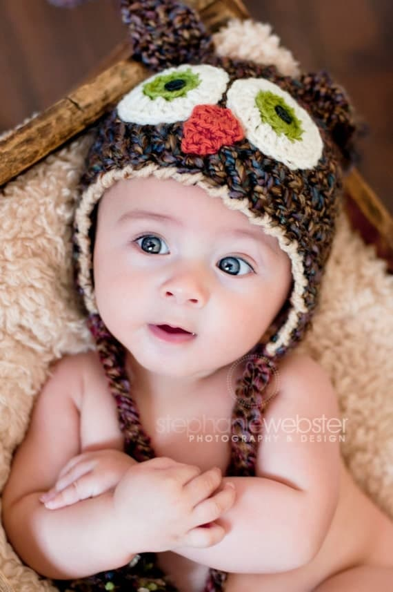 Baby Hats - Brown Owl Hat - Baby Owl Hat - Cute and Soft Earflap Baby Hat -  6 - 12 months  -by JoJosBootique
