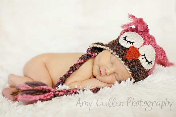 Sleepy Owl Hat -Baby Owl Hat for Baby- Two toned Cute and Soft Earflap - Girl Owl Hat -by JoJosBootique