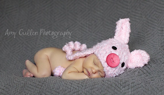 Baby Piggy Hat -Baby Hat- Pig Hat - Baby Hat - Infant Costume Hat - Cute and Soft Earflap - Newborn Pig Hat -by JoJosBootique