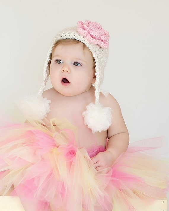Girl Hat - Baby Girl Hat-  Baby Hats - Newborn Baby Hat with Flower - Pom Pom Baby Hat -by JoJosBootique