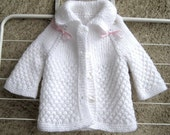 Baby Knit Cardigan New born Sweater / White Collar Warm Kids Jacket / Hand Knit Long sleeve Vest / 3 - 6 months Baby Clothing
