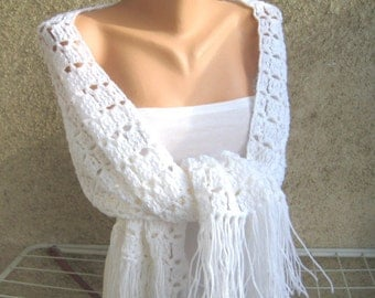 Crochet White Lace Shawl, Wedding White Knitting Scarf, Women Boho Shawl, Acrylic Fluffy Wrap, Winter Soft Accessories, Fashion Gift idea