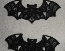UK Set of 2 Black gothic lace bat applique, trimming, choker centerpiece, cuff, hand made