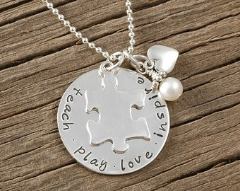 Hand Stamped Jewelry - Teach Play Love Inspire - Puzzle Piece or Apple  pendant