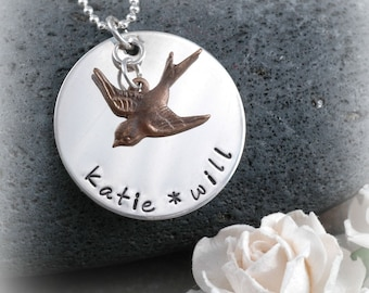 Beautiful Personalized Bird Necklace with your choice of names or words - Sterling Silver