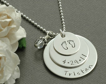 New Mommy Necklace - Triple Stacked Sterling Silver - Personalized Necklace with birthstone