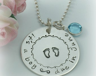 Personalized Due Date Necklace Sterling Silver  - Pregnancy announcement