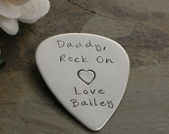 Engraved Guitar Pick - Sterling Silver, Personalized - Custom words or phrase - lyrics  - Hand Stamped, I pick you