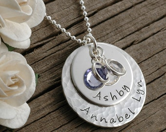 Mother's necklace - hammered and smooth combo - personalized - hand stamped - birthstones - stacked, gifts for mom