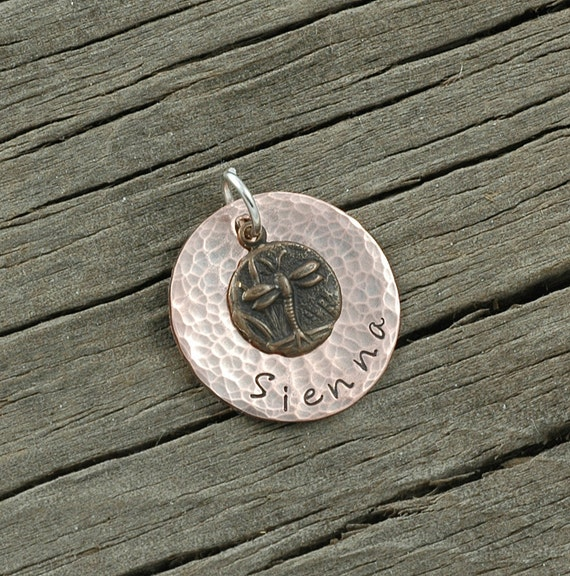 Hammered Copper Personalized Disc with Dragonfly charm
