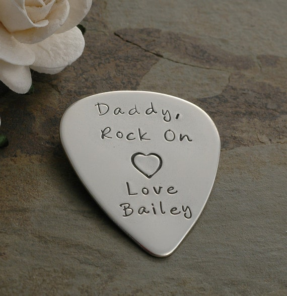 Engraved Guitar Pick - Personalized - Custom  - Hand Stamped - Father's Day
