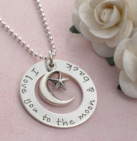 I love you to the moon and back  - Personalized Jewelry - Washer style with moon and star charm
