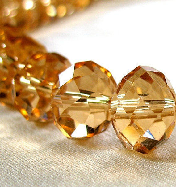 Large 12mm Faceted Light Citrine Yellow Crystal Rondelle Beads, top quality, large 12mm x 10mm, 36 pieces