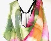 Hand painted silk scarf, Boho scarf, Spring scarf, Tie Dye scarf, Watercolor scarf, Multicolor scarf in sweetheart pink, orange, green