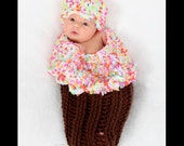 Baby Girl Cocoon, Frosted CUPCAKE with Sprinkles Cocoon Set,  Crochet Newborn Photo Prop