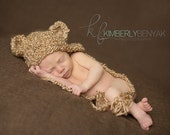 Baby Bear Hat, Newborn Bear Hat, Beige Bear Hat, Baby Teddy Bear Hat, Snuggly Little Bear Hat  Newborn, Baby Crocheted Photo Prop