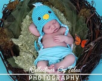Baby Blue Bird Hat with Braids, Newborn Blue Bird Hat, Baby Hat Crocheted Photo Prop