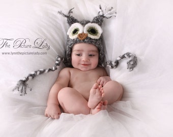 Newborn Grey Owl Hat, Baby Owl Hat with Earflaps, Owl Hat for Baby, Baby Crocheted Unique Photo Prop