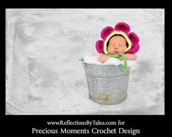 Baby Bonnet, Newborn Flower Bonnet, Baby Crochet Hat, Newborn Girl Bonnet,  Newborn Crochet Photo Prop