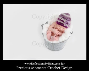 Newborn Crochet Hat - Baby Girl Beanie, Crochet Baby Hat, Baby Girl Hat, Newborn Baby Girl PHOTO PROP, Purple, Lavender, Hat with Flower