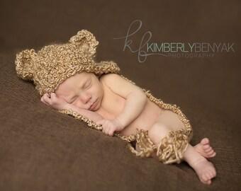 Baby Bear Hat, Newborn Bear Hat, Beige Bear Hat, Baby Teddy Bear Hat, Snuggly Little Bear Hat  Newborn, Baby Crocheted Photo Prop