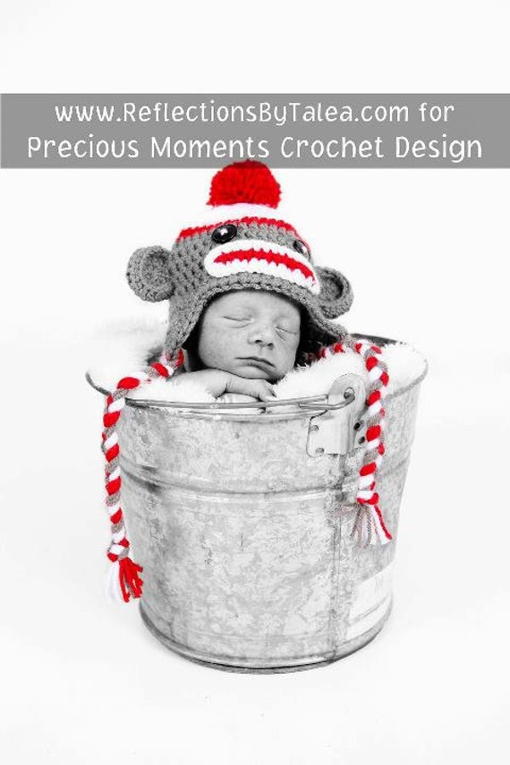 Baby Sock Monkey Hat, Newborn Sock Monkey Hat, Baby Crochet Unique Photo Prop Select Size