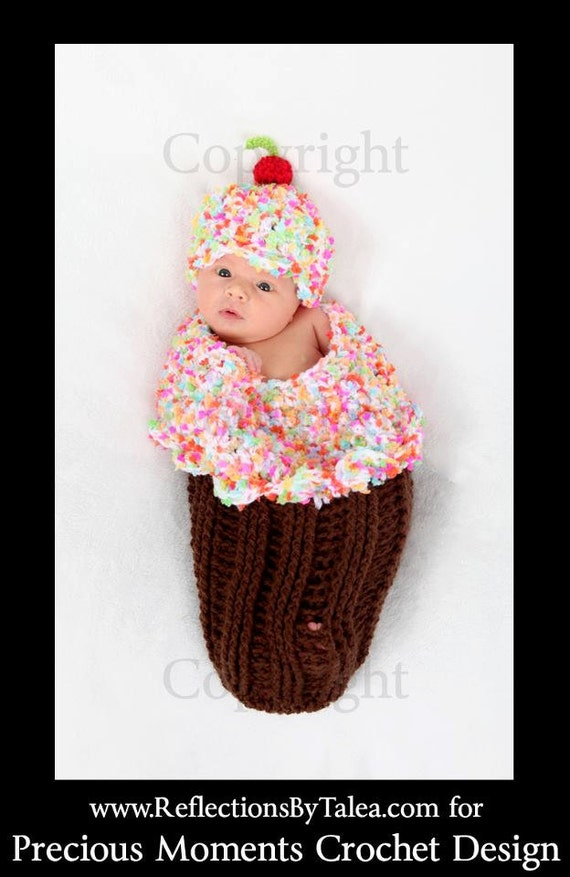 Baby Girl Cocoon Frosted CUPCAKE with Sprinkles Cocoon