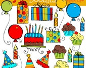 KPM Basic birthday bash Digital Clip art COMBO