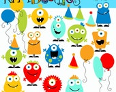 KPM Basic Birthday Monsters digital clipart
