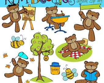 KPM Bears at School Digital Clip art COMBO