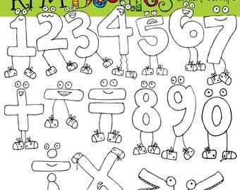 Rafa's Math Monsters digital clip art black line