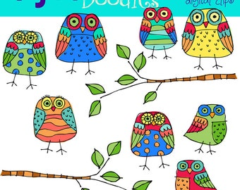 KPM Primary owls digital clipart