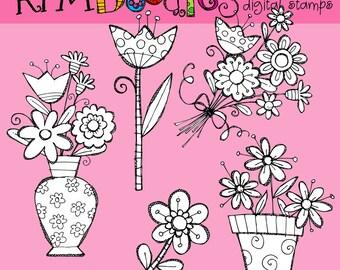 KPM  spring florals Digital  black line stamps