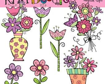 KPM Pastel Spring Florals Digital Clip art